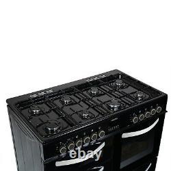 ElectriQ 100cm Dual Fuel Double Oven Range Cooker Black EQRANGE100BLACK
