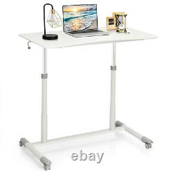Ergonomic Standing Laptop Table Lifting Desk Home Office Workstation with Wheels