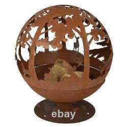 Esschert Design Fallen Fruits Oxidised Woodland Globe FF261 Fire Pit Basket Bow
