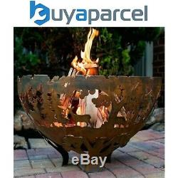 Fallen Fruits Oxidised Rust Effect Woodland Fire Pit Basket Bowl Cast Iron