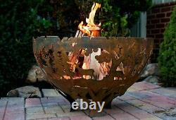 Fallen Fruits Oxidised Rust Effect Woodland Fire Pit Basket Bowl Cast Iron