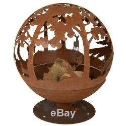 Fallen Fruits Oxidised Woodland Globe Sphere Fire Pit Basket Bowl Cast Iron