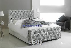 Florida Upholstered Crushed Velvet Diamante Bed Frame Single Double King Size