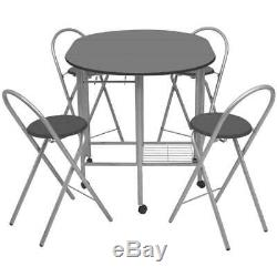 Folding Dining Set Table and 4 Chairs Kitchen Furniture Space Saving Portable