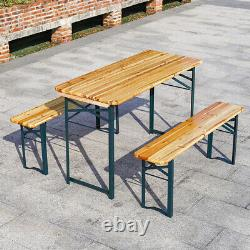 Folding Garden Table & Chair Set Outdoor Patio Beer Dining Coffee Table Bench UK