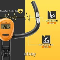 Folding Magnetic Exercise Bike Indoor Fitness Trainer Height Adjustable Bicycle