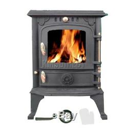 FoxHunter Cast Iron Log Burner 5.5KW Wood Burning Coal Stove Fireplace JA013S