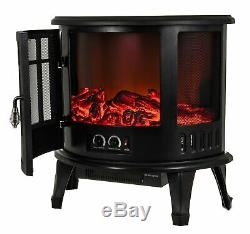 FoxHunter Electric Fireplace Heater LED Flame Effect 1800W Fire Log Burner Stove