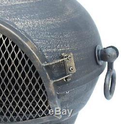 FoxHunter Gold Cast Iron Steel Chimenea Chiminea Chimnea Patio Heater Fire Pit