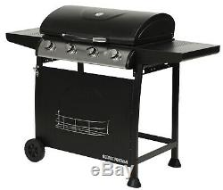 George Foreman GFGBBQ4B Black 4 Burner Gas Grill BBQ with Wheels