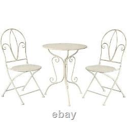 GlamHaus Metal Garden Bistro Set Patio 3 Piece Outdoor Furniture Table Chairs