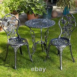 Grey Bistro Set Outdoor Patio Garden Furniture Table and 2 Chairs Metal Frame
