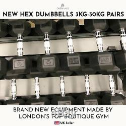 Hex Dumbbells 3kg-12.5kg Pairs Cast Iron Rubber Encased Home Gym Fixed Weights