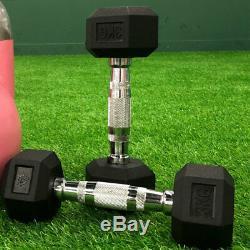 HEX DUMBBELLS 3-30KG PAIR Cast Iron Rubber Encased Set Weights