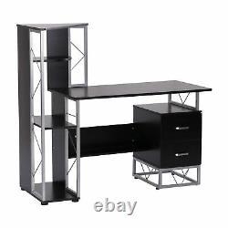 HOMCOM Computer Desk 2 Drawers Multi-Shelves Study Workstation PC Table Office