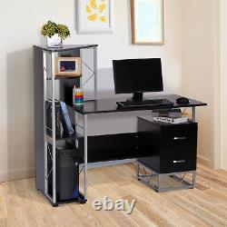 HOMCOM Computer PC Laptop Desk Table Shelf 2 Drawers Bookstore workstation