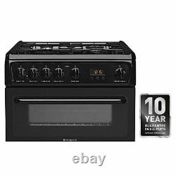HOTPOINT HAG60K 60cm Double Oven Gas Cooker Black