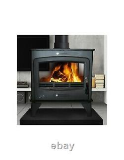 Heritage Brandon 16kw Wood Log Burner Stove Room Heater Matt Black Double Sided