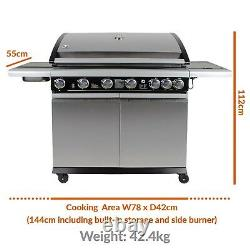 IQ 6+1 Outdoor Gas BBQ Stainless Steel Barbecue Grill 6 Burner + 1 Side New