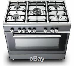 KENWOOD CK306SL 90 cm Dual Fuel Range Cooker Slate Grey & Chrome Currys