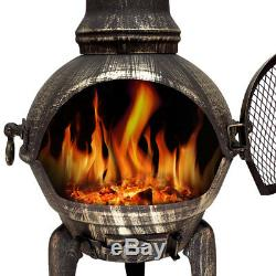 Large Cast Iron Chiminea Barbecue Garden Patio Heater 112cm BBQ Oven Chimenea