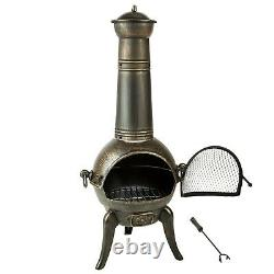 Large Cast Iron Chiminea Fireplace Garden Patio Heater Barbecue 115cm BBQ New