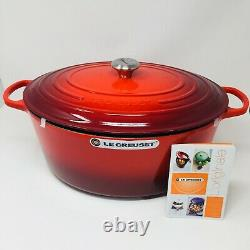 Le Creuset Signature Cast Iron 15 1/2-qt Oval Dutch Oven, Cherry Red