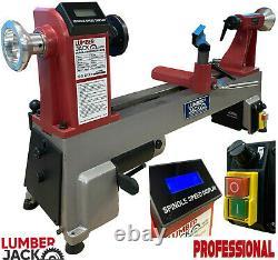 Lumberjack Variable Speed Digital Mini Lathe For Wood Turning Cast Iron Bed 230V