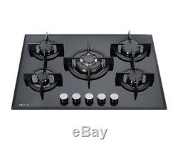 MILLAR GH7051PB 5 Burner Built-in Gas on Glass Hob 70cm Cast Iron Stands & Wok