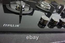 MILLAR GH7051PB 70cm 5 Burner Built-in Gas on Glass Hob Cast Iron EU Plug