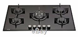 MILLAR GH9051PB 5 Burner Built-in Gas on Glass Hob 90cm Cast Iron Stands & Wok