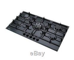 MILLAR GH9051TB 5 Burner Built-in Gas on Glass Hob 90cm with Cast Iron Stands
