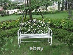 Metal Garden Bench Seat Patio Furniture Vintage Foldable Antique Patio Outdoor