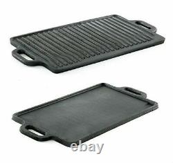 Non-Stick Cast Iron Reversible Steak Griddle Plate Indoor BBQ Hob Cooking