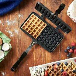 Non Stick Dual Stove Top Waffle Maker Iron Die-Cast Aluminium Dual Coated Plates