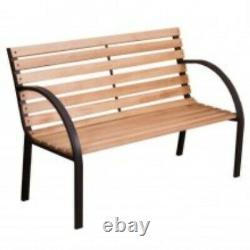Outdoor Garden Bench Wooden Cast Iron 2 Seater Picnic Patio Garden Furniture