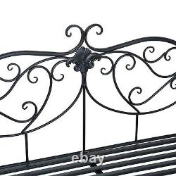 Outsunny 2 Seater Metal Garden Bench Backrest Vintage Rustic Park Seat Chair