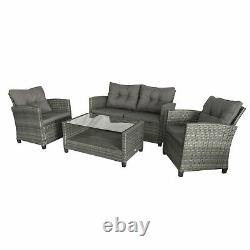 Outsunny 4 PCS Garden Rattan Coffee Table Chair Furniture Set with Cushions Grey