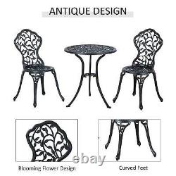 Outsunny Cast Aluminum Bistro Set Garden Coffee Table Chair Outdoor Dining Seat