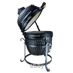 Outsunny Charcoal Grill Cast Iron BBQ Picnic Cooking Smoker Standing Black