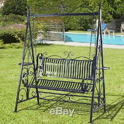 Outsunny Outdoor Metal Swing Chair Garden Hammock Bench Blossoming Cast Iron
