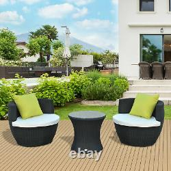 Outsunny Rattan Bistro Set 2 Vase Chairs Coffee Table Stackable Wicker Black