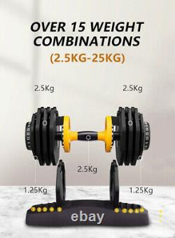 PAIR of ADJUSTABLE DUMBBELLS 2.5-25kg Total 50kg Selectable Weights Unisex