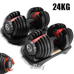 Pair Of HyGYM Premium Adjustable Dumbbells 24KG Multi Gym Adjustable Weights Gym