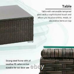 Rattan Garden Furniture Set 4 Seater Patio Outdoor Corner Sofa Glass Table