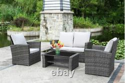 Rattan Garden Premium Set 4 Piece Chairs Sofa Table Outdoor Patio Wicker