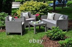 Rattan Keter Garden Furniture Set 4 Piece Chairs Sofa Table Patio Conservatory