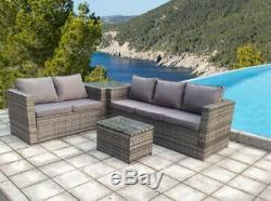 Rattan Wicker Conservatory Outdoor Garden Furniture Set Corner Set Grey Thick
