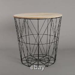 Retro Black Metal Wire Round Wood Top Storage Side Table Basket Home Furniture