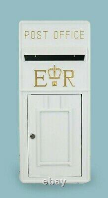 Royal Mail Post Box ER II Pillar Box White Cast Iron Post Office Letter Box